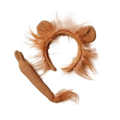 Ensemble bandeau et queue de lion marron avec oreilles et crinière Alice pour enterrement de vie de jeune fille