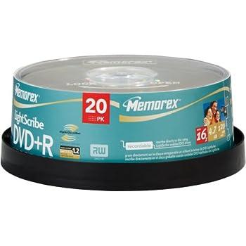 Memorex 04708 16x Lightscribe tm  Dvd+rs  20 Pk