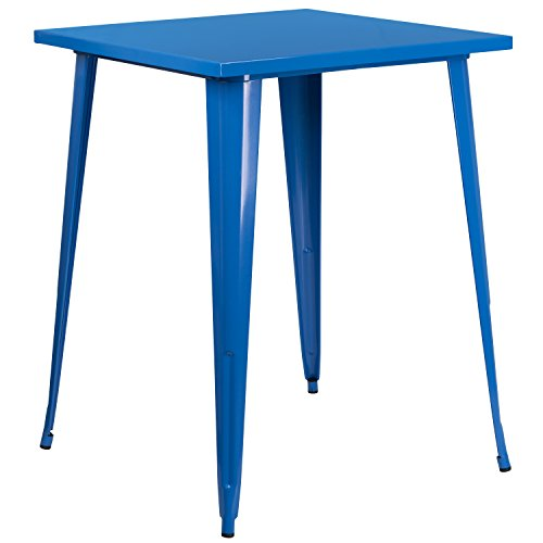 Flash Furniture Commercial Grade 31.5' Square Blue Metal Indoor-Outdoor Bar Height Table