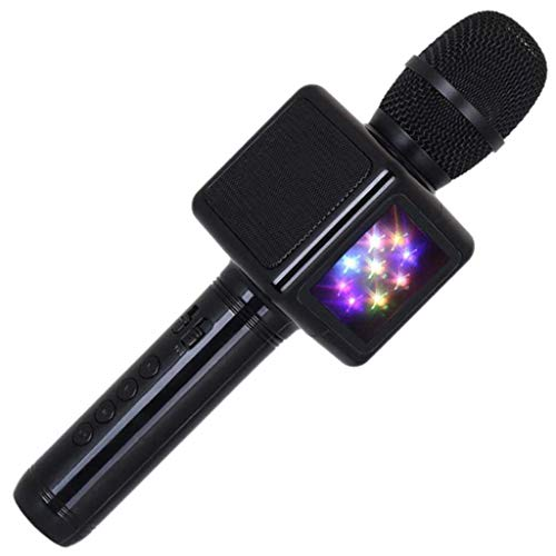 Handheld Wireless Karaoke Microphone with Double-Sided LED Disco Light, Portable Mic Bluetooth Speaker Karaoke Machine, Home KTV Music Player, Best Gift for Kids,Black