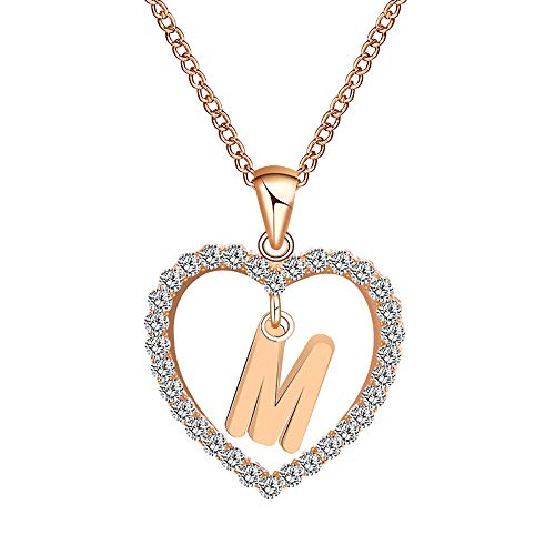 Women 26 English Letter Necklace Name Heart Shaped Crystal Chain Pendant Necklaces Jewelry Gift