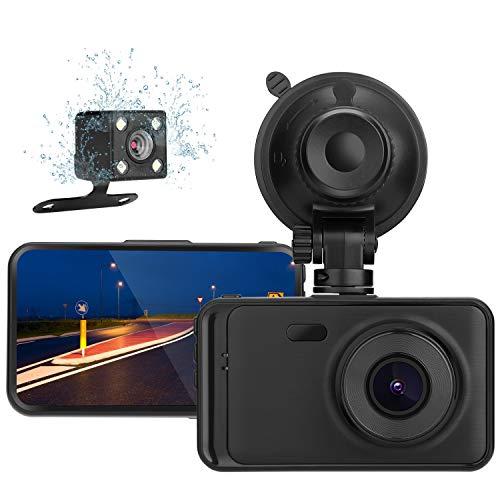 MYPIN Dual Dashcam Front- und Heckkamera 1080P in Autokamera Dashcams mit 3,0 Zoll Bildschirm, 170° Weitwinkelobjektiv, G-Sensor, Parkmonitor, Loop-Aufnahme und WDR
