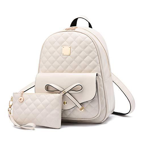 2-PCS Girls Fashion Backpack Bowknot Cute Mini Backpack PU Leather Rucksack Purse for Women COMET - Beige