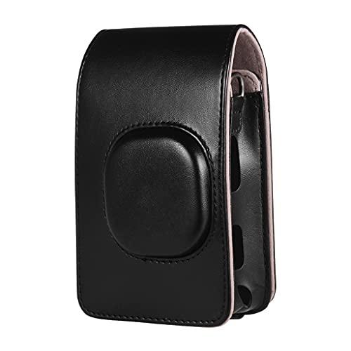 RYSF Estuche Retro Suave para Cámara Mini, Funda De Cuero PU con Correa para El Hombro para Fujifilm Instax Mini LiPlay, Estuche para Cámara Instantánea (Color : Black, Size : 14 * 9 * 4.5cm)