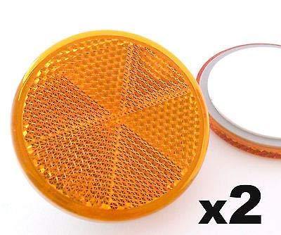 Reflektoren X2selbstklebend, Bernstein/Orange, rund, zirkular, Trailer/Caravan–50mm–Free First Class UK Porto.