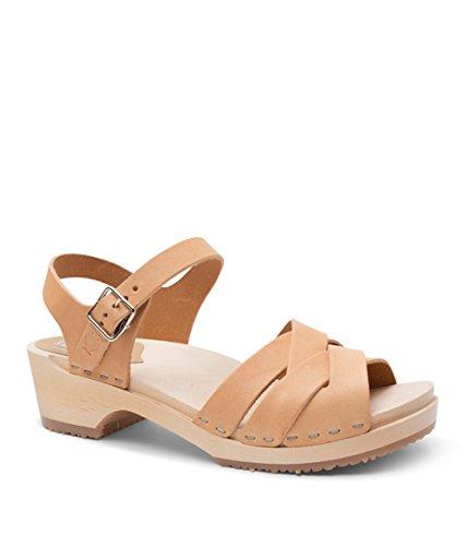 Sandgrens Swedish Wooden Low Heel Clog Sandals for Women, US 6-6.5 | Rio Grande Nude Veg, EU 37