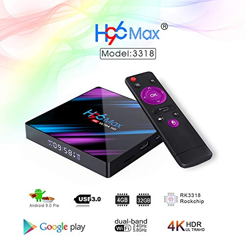 MeterMall H96 MAX 3318 Quad-Core 2 + 16 G / 4 + 32 G Android 9.0 HD Smart Network Media Player TV Box Electronic Accessories, 2+16, EU Enchufe