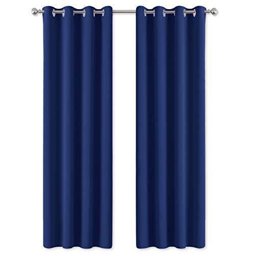 PONY DANCE Gardinen Kinderzimmer Blickdicht - (2 Stücke H 245 x B 140 cm) Thermovorhang Blickdicht Blaue Gardinen Schlafzimmer Verdunlungsvorhänge