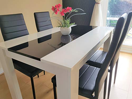 KOSY KOALA White wood dining Table and 4 black Faux Leather chairs high gloss wood dining set (Table with 4 black chairs)