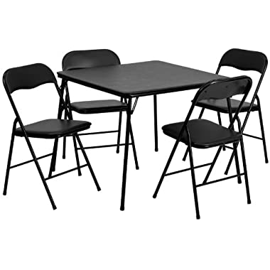 Flash Furniture 5 Piece Black Folding Card Table Chair Set