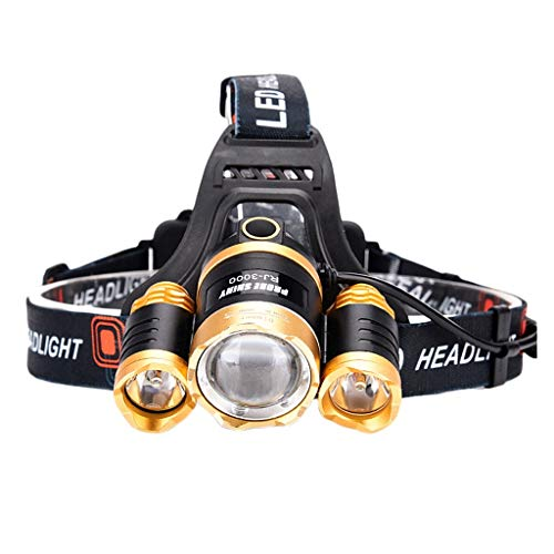 FET Continuous LED Lampe Frontale, Multifonction Ajustable Lanterne Lampe de Poche USB Imperméable de Plein Air Mineur Nuit Pêche Long Service Life (Taille : A)