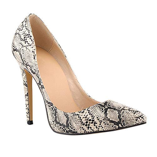 Frestepvie Damen Spitze Pumps mit Pfennigabsatz Elegant High Heels Schuhe Fashion Schlange Damenschuhe Klassische Geschlossen Abendschuhe Party Freizeit Hochzeit Schuhe Sandaletten