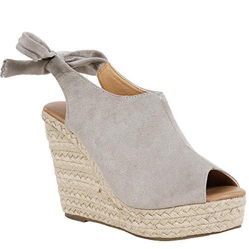 Syktkmx Womens Slingback Platform Wedge Sandals Tie Knot High Heel Peep Toe Ankle Espadrilles Grey