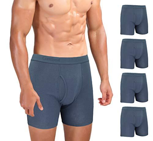 Comfneat Herren Boxershorts 5er Pack Long Leg Boxer Briefs Baumwolle Unterhosen Super Elastisch Komfortable Retroshorts (Dark Grey Pack-5, S)