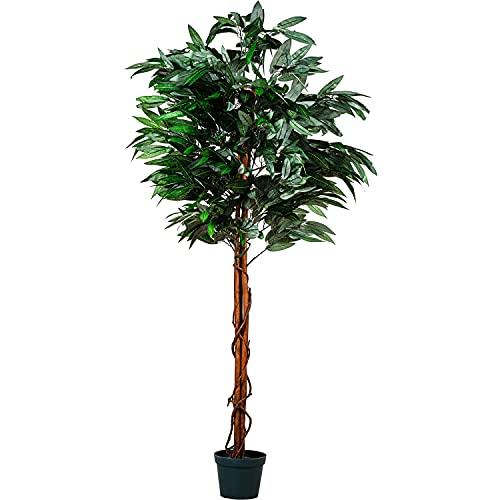PLANTASIA® Mangobaum, Echtholzstamm, Kunstbaum, Kunstpflanze - 120cm oder 180 cm, Schadstoffgeprüft - 180 cm