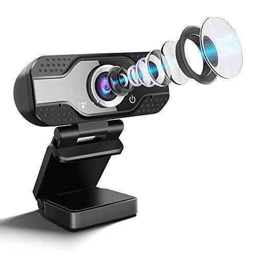 SaponinTree Webcam USB con Micrófono,1080P Full HD Cámara Web de Alta Definiciócon Reductor de Ruido y Corrección de Iluminación Automática para Videollamadas, Videoconferencias, En Línea Aprendizaje