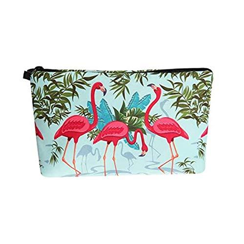 Longsing Bolsa de Cosméticos Portátil Neceser Impermeable Almacenamiento de Luz Estuche Portátil Kit de Viaje (Flamingo)