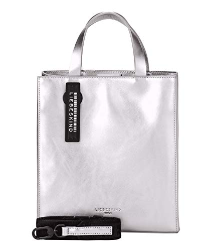 Liebeskind Berlin Damen Paper Bag Metallic-Tote Small, Silber (Silver), 11.5x25x20.5 cm