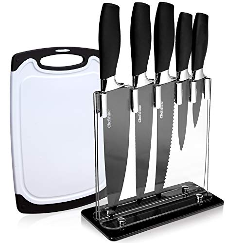 6 Piece Kitchen Knives Cooking Knife Set With Block And Cutting Board .Black