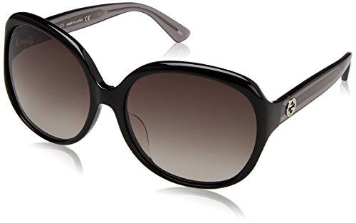 Gucci Damen GG0080SK 002 Sonnenbrille, Schwarz (Black/Grey), 61