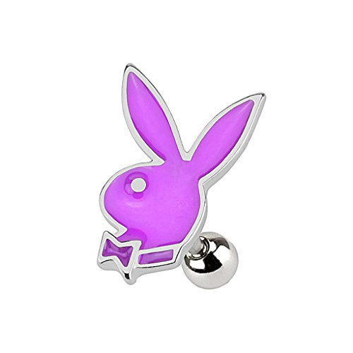 Piercingfaktor Tragus Stecker Ohr Schmuck Helix Piercing Stecker Playboy Bunny Hase Silber/Lila