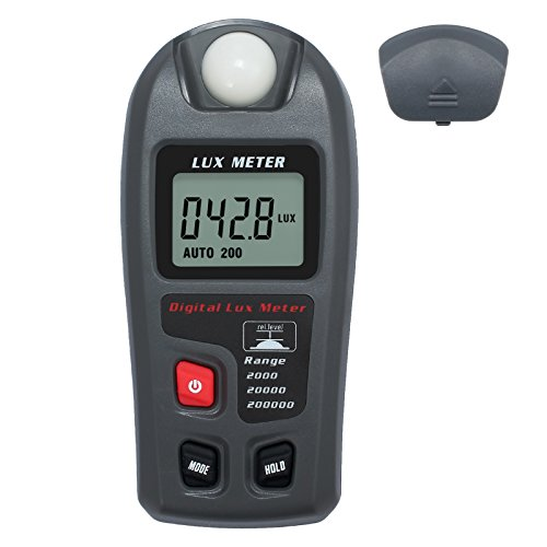 Proster Digital Luxmeters Illuminance Light Meter Luminometers Lux Light Meter Photometers High Accuracy ±4% Lux Meter with LCD Display Range 0.1-200000 Lux/0.01-20000 Fc