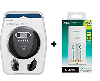 Insignia NS-P4112 Portable CD Player Bundle with Sony BCG-34HW2KN Rechargeable AA Batteries