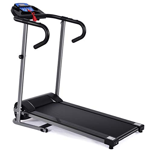 GYMAX Folding Treadmill, Electric Motorized Running Jogging Machine with LCD Monitor & Device Holder, Easy Assembly Heavy Duty Walking Treadmill for Home