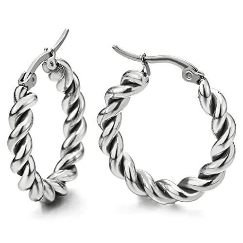 Par de pendientes de aro para hombre y mujer, de acero inoxidable, cable trenzado, forma de llave, círculo, huggie