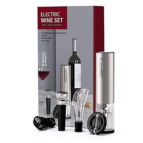 Sacacorchos Eléctrico Acero inoxidable Automatico Abrelatas de Vino Pourer Foil Cutter Tapón de bombeo al vacío, regalo ideal para amantes del vino