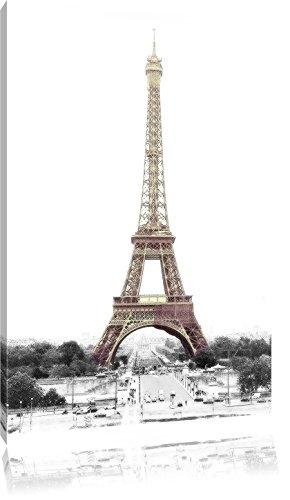 gigantischer Eifelturm schwarz/weiß auf Leinwand, XXL riesige Bilder fertig gerahmt mit Keilrahmen, Kunstdruck auf Wandbild mit Rahmen, günstiger als Gemälde oder Ölbild, kein Poster oder Plakat