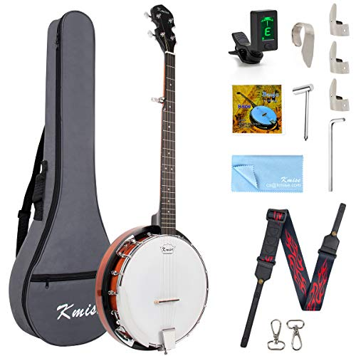 Kmise 5 String Resonator Banjo Professional Sapele Back Banjos Starter Kit With Bag Tuner Strap Strings Picks Ruler Wrench Bridge (Full Size 38 Inch, Resonator Banjo)