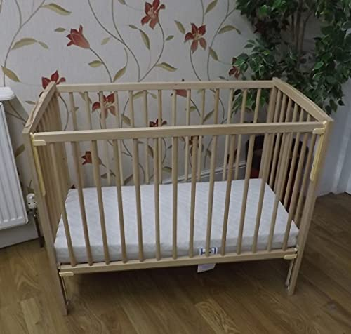 Lisa Compact Mini/Space Saver Drop Side Cot in Beech : Includes 10cm Thick Spacesaver Cot Mattress BABY REX®: Perfect for Small Rooms …