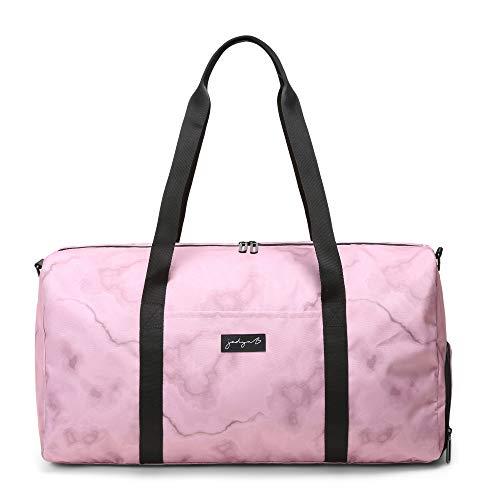 Jadyn B Weekender Bag - 56 cm./ 52L - Bolsa de Lona con Bolsillo para Zapatos (Marble Pink)