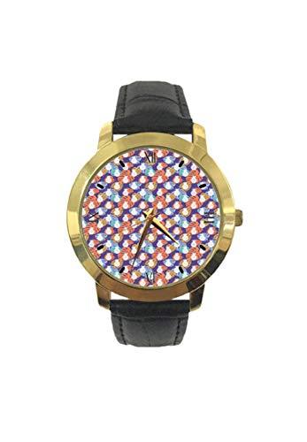 Reloj de Pulsera para Mujer, diseño de piñas con Hojas Coloridas y Motivos Hawaianos, Correa de Piel de Cuarzo