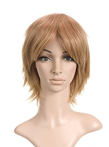 Golden Light Brown with Highlights Short Length Anime Cosplay Costume Wig