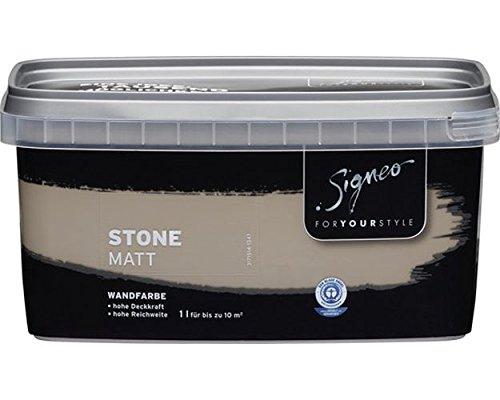 Signeo Bunte Wandfarbe, STONE, Steingrau, Grau, matt, elegant-matte Oberflächen, Innenfarbe, 1 Liter