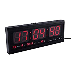 ZotoyaShop Digital Clock LED Wall Oversized Large Big Display Calendar Temperature Weather am pm Clock Date Day of Week Timer Home Decor Living Room Office Conference Room Red 18.9 inch
