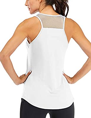 Fihapyli Women's Workout Tank Tops Breathable Mesh Backless Tank Yoga Tops for Womens Workout Tops for Women Loose Fit Pilates Tank Tops Open Back Racerback Tank Tops Fitness Muscle Tank White S