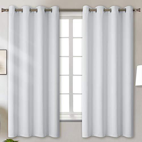 BGment Verdunklungsvorhänge mit Ösen für Schlafzimmer Blickdichte Vorhänge Energiespar & Wärmeisolierend Thermo Gardinen für Wohnzimmer, Grau-weiß, 175 x 140 cm (H x B), 2 Stück
