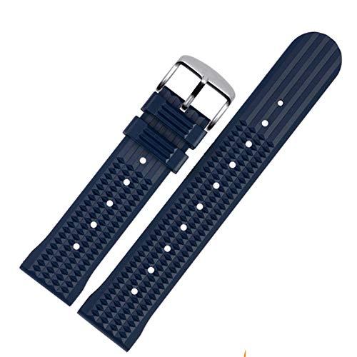Beapet 20mm 22mm Reloj de Reloj de Goma Hombres Deporte Banda de muñeca Impermeable Pulsera de la Banda de Reloj para Omega (Color : Blue S, Size : 22mm)