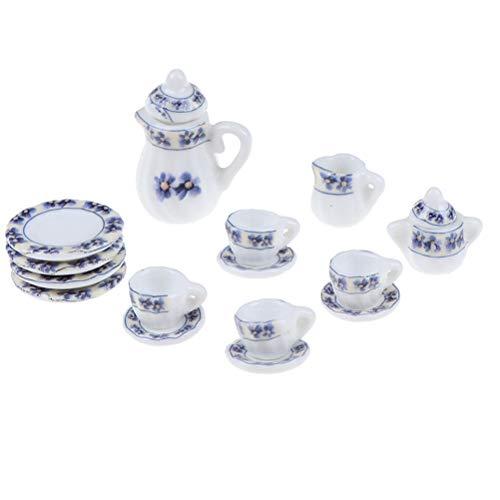 TBoxBo 15 piezas 1/12 casa de muñecas miniatura porcelana vajilla cerámica floral té tazas Set juguetes Vintage plato taza plato comedor artículos decoración casa de muñecas accesorios cocina