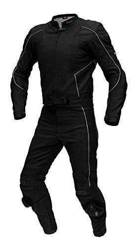 XLS Lederkombi zweiteilig hochwertiger Zweiteiler in schwarz matt als Langgröße Schlankegröße (102)