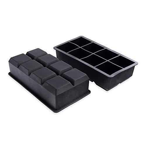Schramm® 2 Stück XXL Eiswürfelformen 5cm Eiswürfel aus lebensmittelechtem Silikon BPA-frei Silikonformen Eiswürfelzubereiter Ice Cube 2er Pack