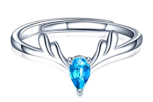 Yumilok Anillo de plata de ley 925 para mujer, anillo abierto de ciervos navideños, incrustaciones de circón azul, tamaño ajustable, regalo de cumpleaños de Navidad, tamaño: 49-57