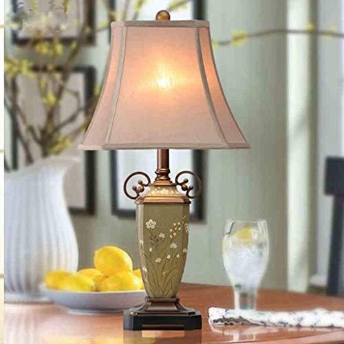 XUSHEN-HU led Lámparas de mesa, personalidad simple mano creativa Europea pastoral pintado retro luces de la sala dormitorio lámpara de cabecera, tela de la lámpara, persiana Resina luz de la noche de