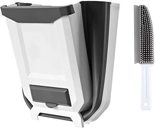 Cubo de Basura Reciclaje como Papelera Plegable para Cocina con dispensador de Bolsas de Basura y Cepillo recogedor de Mano multifunción con Soporte para Pared - Cubo Basura orgánica