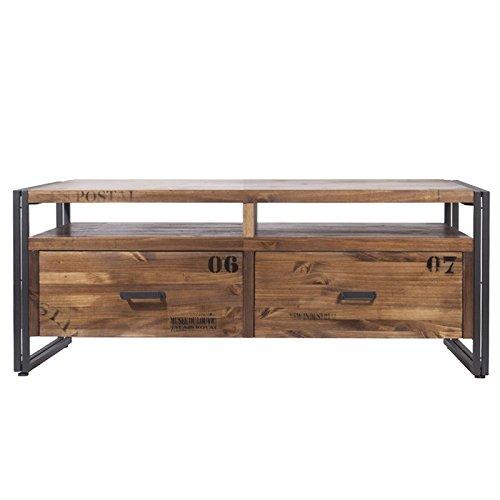 Indhouse Michigan TV-kast in industriële stijl van metaal en hout, 2 laden