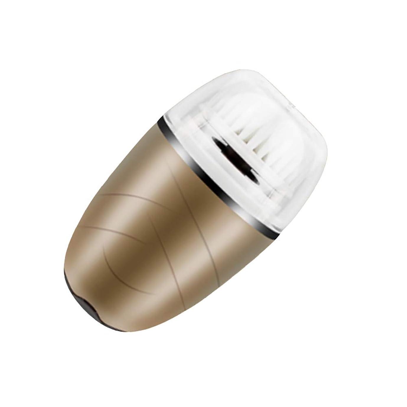 スリチンモイホイッスル利用可能洗顔ブラシ、電動ソニックフェイスブラシ振動顔クレンジングシステム防水ブラシにきびエクスフォリエーター USB 充電式,Gold