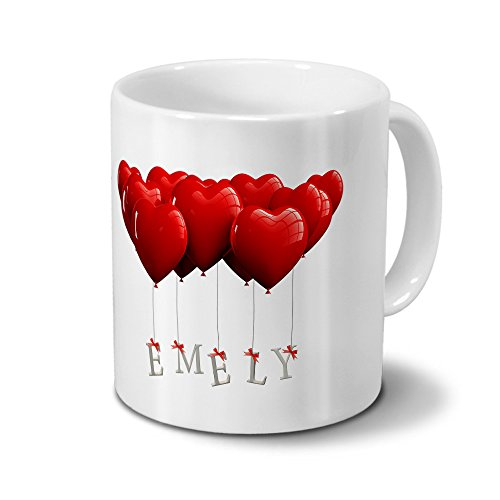 printplanet Tasse mit Namen Emely - Motiv Herzballons - Namenstasse, Kaffeebecher, Mug, Becher, Kaffeetasse - Farbe Weiß